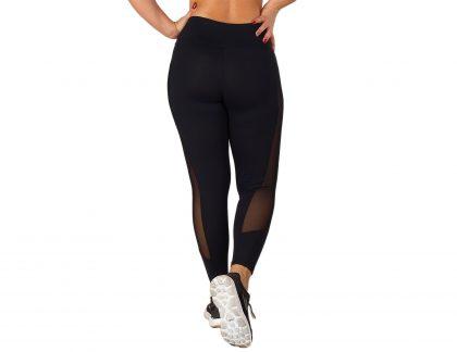 Legging de desporto, preta, cintura alta com transparências para mulher