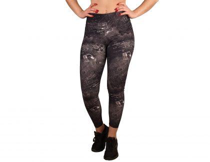 Printed women's sport leggings and high waist