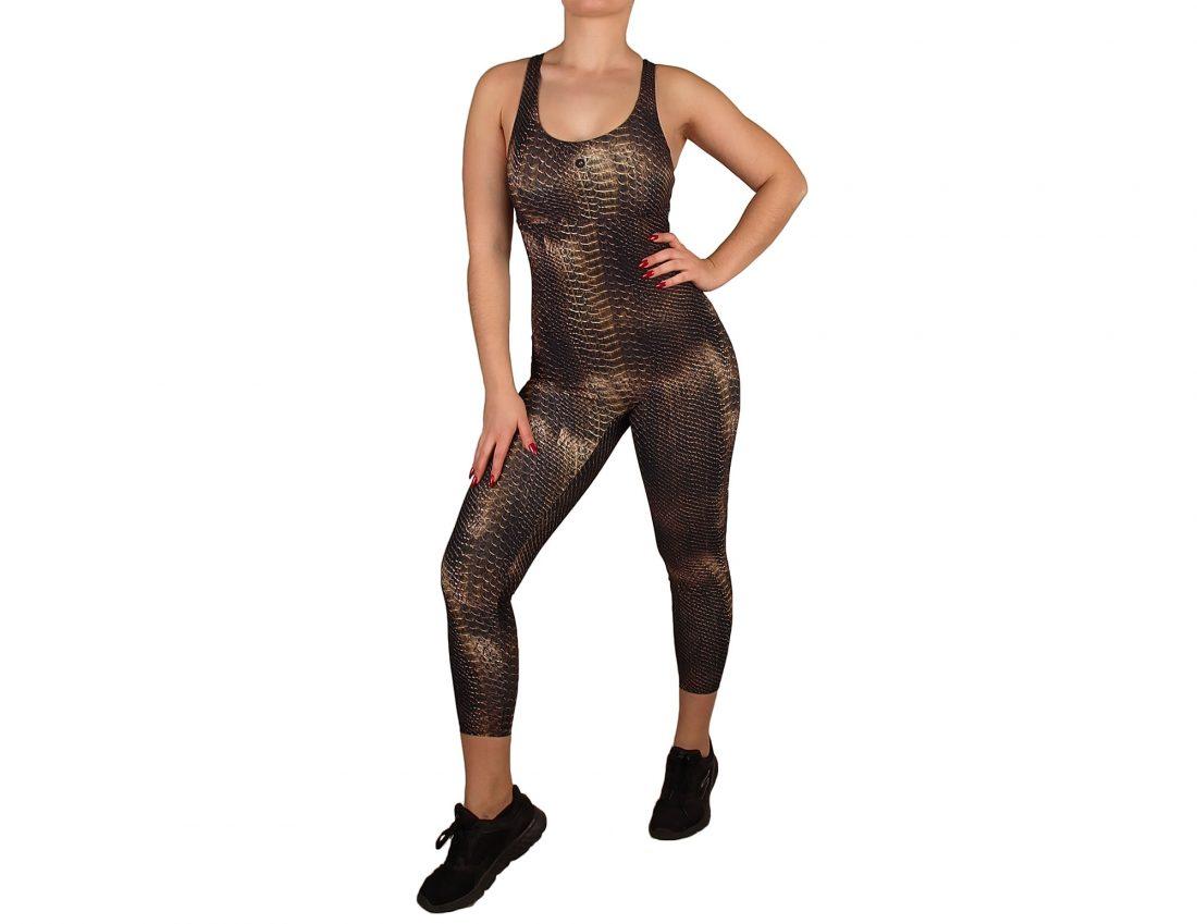 Animal printed overalls for women round neckline