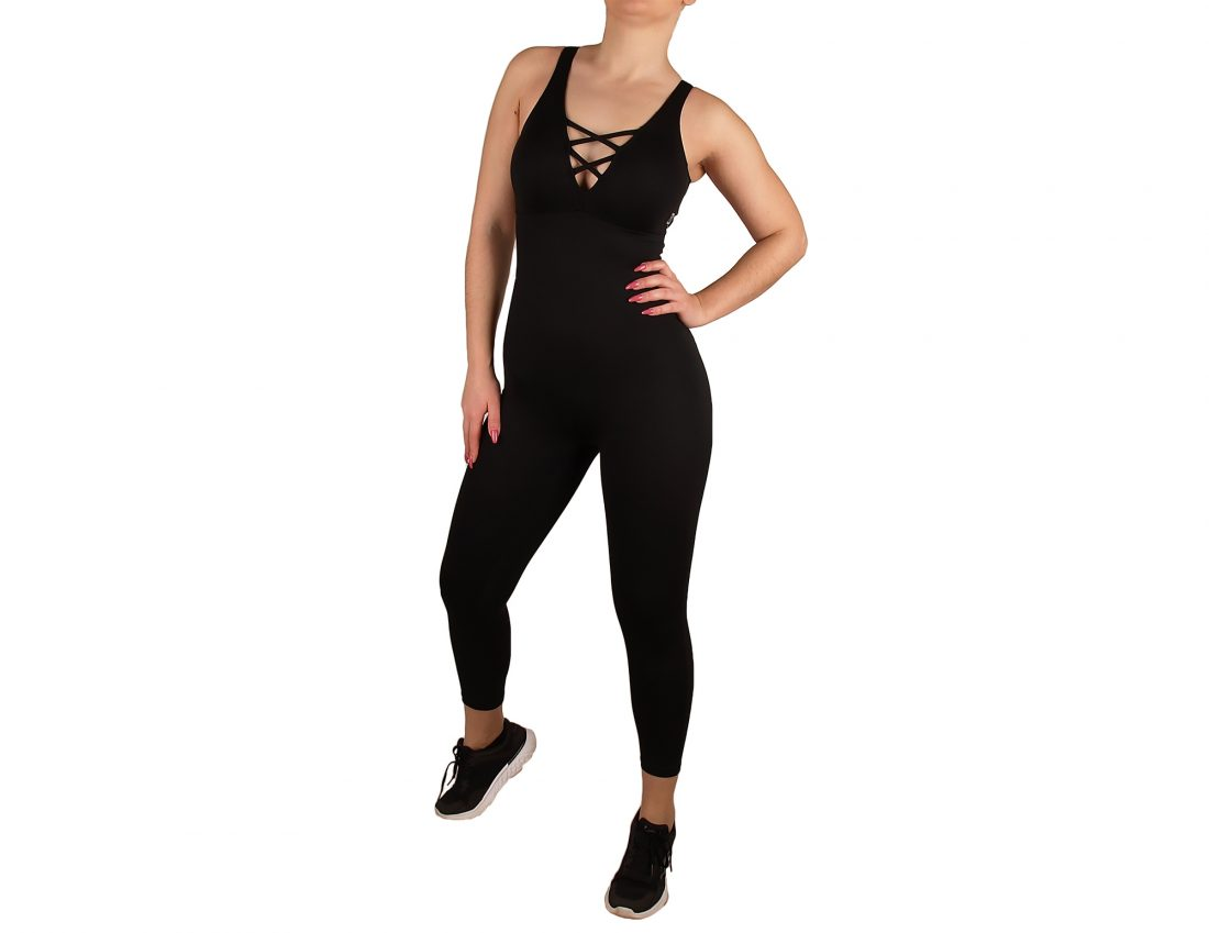 Sports jumpsuit with cross effect on chest and back