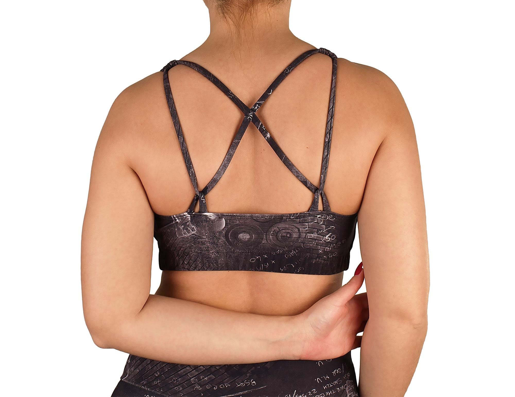 Top de gimnasio para mujer, escote redondo, cruzado en la espalda